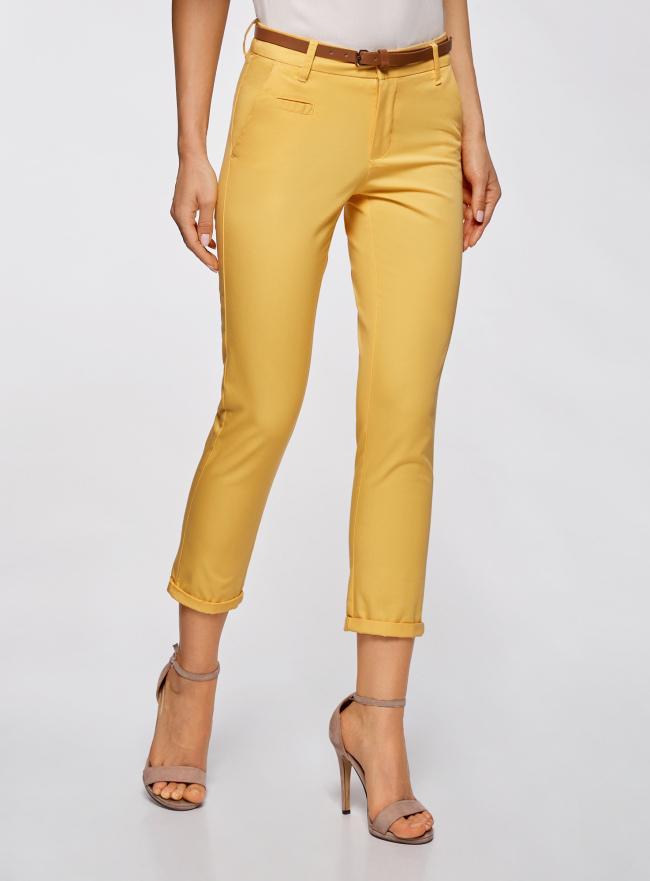 Брюки-чиносы с ремнем oodji для женщины (желтый), 11706193B/42841/5200N
