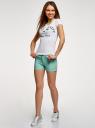 Шорты джинсовые стретч с отворотами oodji #SECTION_NAME# (бирюзовый), 12807082B/45491/7300W - вид 6