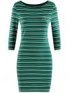 Платье трикотажное в полоску oodji #SECTION_NAME# (зеленый), 14001071-10/46148/6E25S - вид 6