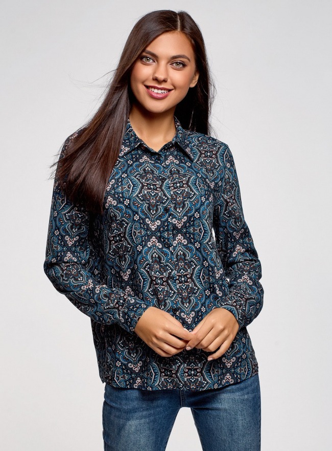 Блузка вискозная прямого силуэта oodji #SECTION_NAME# (синий), 11411098-3/24681/7919E