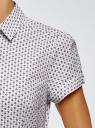 Рубашка хлопковая с коротким рукавом oodji #SECTION_NAME# (белый), 13K01004-3B/48461/1041G - вид 5