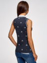 Топ из ткани пике с вышивкой oodji #SECTION_NAME# (синий), 19305001-1/46149/7910O - вид 3