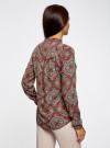 Блузка из вискозы принтованная с воротником-стойкой oodji #SECTION_NAME# (красный), 21411063-2/26346/4533E - вид 3