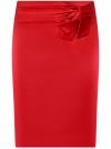 Юбка прямая с декоративным бантом на поясе oodji #SECTION_NAME# (красный), 21601302/32700/4500N