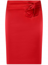 Юбка прямая с декоративным бантом на поясе oodji для женщины (красный), 21601302/32700/4500N