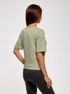 Свитшот из фактурной ткани с коротким рукавом oodji #SECTION_NAME# (зеленый), 24801010-11/46432/6000N - вид 3