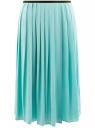 Юбка длинная с контрастным поясом oodji для женщины (бирюзовый), 11600379-1/42662/7300N