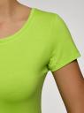 Футболка базовая приталенная oodji для женщины (зеленый), 14701005-7B/46147/6A01N
