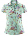 Блузка принтованная из легкой ткани oodji #SECTION_NAME# (зеленый), 21407022-9/12836/6580F