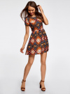 Платье принтованное из вискозы oodji для женщины (разноцветный), 11900191/26346/2959E - вид 6