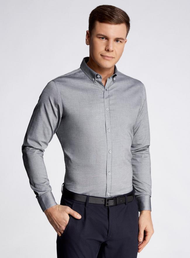 Рубашка приталенная с длинным рукавом oodji #SECTION_NAME# (серый), 3B110011M/34714N/2300N