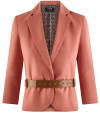 Жакет льняной с широким ремнем oodji #SECTION_NAME# (розовый), 21202076-2/45503/3300N