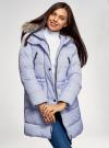 Куртка удлиненная с искусственным мехом на капюшоне oodji #SECTION_NAME# (синий), 10203058/45928/7502N - вид 2