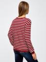Свитшот полосатый свободного силуэта oodji для женщины (красный), 14801022-3/43542/4910S