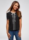 Блузка с коротким рукавом и контрастной отделкой oodji для женщины (черный), 11401254/42405/2900N