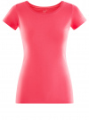 Футболка базовая приталенная oodji для женщины (розовый), 14701005-7B/46147/4D00N