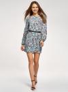 Платье из шифона с ремнем oodji для женщины (бирюзовый), 11900150-5B/32823/7037F - вид 2