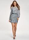 Платье из шифона с ремнем oodji #SECTION_NAME# (бирюзовый), 11900150-5B/32823/7037F - вид 2
