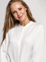 Блузка вискозная с воротником-стойкой oodji для женщины (белый), 11411219/50636/1200N