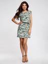 Платье вискозное без рукавов oodji #SECTION_NAME# (зеленый), 11910073B/26346/6062O - вид 2