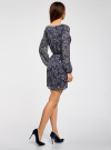 Платье из шифона с ремнем oodji для женщины (синий), 11900150-5/13632/7912E - вид 3