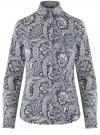 Рубашка приталенная принтованная oodji #SECTION_NAME# (синий), 21402212/14885/7530E