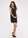 Платье принтованное с контрастным воротником oodji для женщины (черный), 11910077-2/37888/2912D