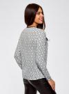 Блузка из струящейся ткани с контрастной отделкой oodji #SECTION_NAME# (серый), 11411059B/43414/1229O - вид 3