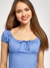 Платье хлопковое со сборками на груди oodji #SECTION_NAME# (синий), 11902047-2B/14885/7500N - вид 4