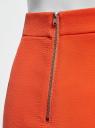 Юбка короткая с отделкой из искусственной кожи oodji для женщины (оранжевый), 11601179-10/46415/5500N