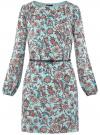 Платье из шифона с ремнем oodji для женщины (бирюзовый), 11900150-5B/32823/7037F