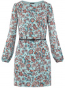 Платье из шифона с ремнем oodji #SECTION_NAME# (бирюзовый), 11900150-5B/32823/7037F