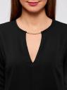 Блузка с вырезом-капелькой и металлическим декором oodji #SECTION_NAME# (черный), 21400396/38580/2900N - вид 4