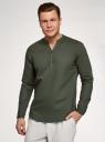 Рубашка прямого силуэта изо льна oodji для мужчины (зеленый), 3B320002M-1/49987N/6600N