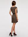 Платье принтованное из вискозы oodji #SECTION_NAME# (коричневый), 11910073-2/45470/3912D - вид 3