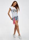 Шорты джинсовые с банданой oodji #SECTION_NAME# (синий), 12807088/46787/7000W - вид 6