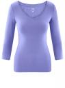 Футболка с V-образным вырезом и рукавом 3/4 oodji для женщины (фиолетовый), 24211002B/46147/8001N