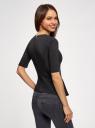 Блузка комбинированная с молнией на спине oodji для женщины (черный), 11311024/43117/2900N