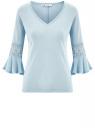 Блузка трикотажная с кружевными вставками на рукавах oodji #SECTION_NAME# (синий), 11308096/43222/7000N