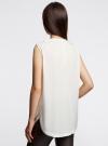 Блузка без рукавов с металлическими кнопками oodji #SECTION_NAME# (белый), 21412131/35251/1200N - вид 3