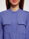 Блузка вискозная с регулировкой длины рукава oodji #SECTION_NAME# (синий), 11403225-9B/48458/7500N - вид 4