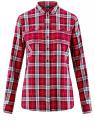 Рубашка вискозная в клетку oodji для женщины (красный), 11411114/45776/4579C
