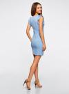 Платье трикотажное с V-образным вырезом oodji #SECTION_NAME# (синий), 14015004/45394/7000N - вид 3
