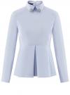 Блузка с баской и декором на воротнике  oodji #SECTION_NAME# (синий), 13K00001-2B/42083/7000N