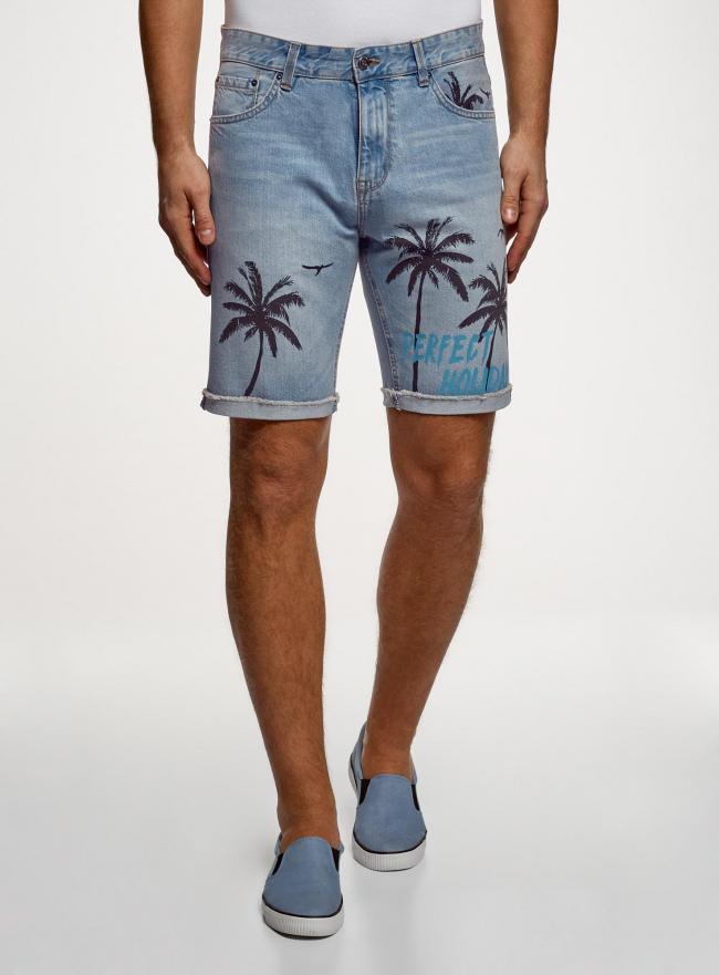 Шорты джинсовые с принтом oodji #SECTION_NAME# (синий), 6L220020M/35771/7400W