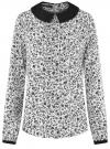 Блузка из струящейся ткани с контрастным воротником oodji #SECTION_NAME# (белый), 11411117-1B/49474/1229F