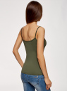 Топ трикотажный на тонких бретелях oodji для женщины (зеленый), 14305023-4B/45297/6800N