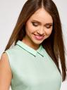 Топ базовый из струящейся ткани oodji для женщины (зеленый), 14911006B/43414/6501N