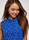 Топ базовый из струящейся ткани oodji для женщины (синий), 14911006-2B/43414/7510O