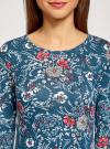 Платье трикотажное с вырезом-капелькой на спине oodji #SECTION_NAME# (синий), 24001070-5/15640/7630F - вид 4